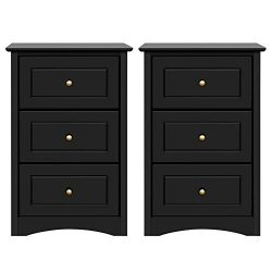 Yaheetech Tall Bedside Table Nightstand End Sofa Table with 3 Drawers – Storage Cabinet Be ...