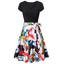 Mayunn Women's Short Sleeve Cross Bud V- Neck Dresses Floral Printing Vintage Elegant Flar ...