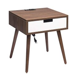 Nightstand End Table with Drawers Storage, Frylr Bedside Table Latest with 2 Power Sockets and 2 ...