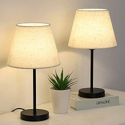 RZChome Table Lamps Set of 2, Modern Bedroom Nightstand Lamps with Pull Chain for Bedroom,Living ...