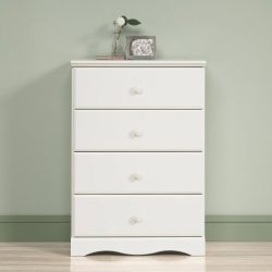 BLOSSOMZ Sauder Storybook 4-Drawer Chest, Soft White, Drawers with Metal Runners and Safety Stop ...