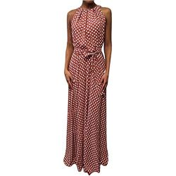 HJuyYuah Women Casual Summer Dot Printed Sleeveless Beach Dress Sundress Red