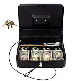 Cash Box by OSAFE – Money Box with Lock & Security Cable – Cash Safe Box with Ne ...