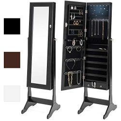 Best Choice Products 6-Tier Full Length Standing Mirrored Lockable Jewelry Storage Organizer Cab ...