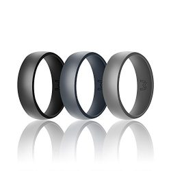 WIGERLON Mens Silicone Wedding Ring&Rubber Wedding Bands for Workout and Sports Width 8mm Pa ...