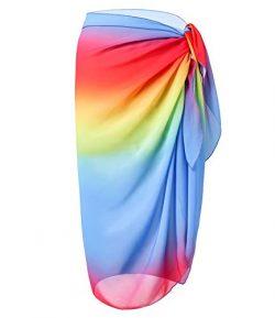 CARDYDONY Women's Wrap Sarong Beach Bikini Swimsuit Cover Up Skirt Rainbow S-L