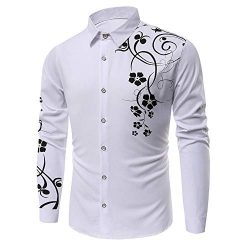 KLGDA Mens Long Sleeve Slim Fit Casual Printed Button Down Dress Shirt Quick Dry UV Protection H ...