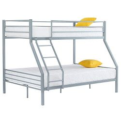 Bonnlo Twin Over Full Metal Bunk Bed Frame with Flat Steps and Reinforced Guardrail for Kids/Adu ...