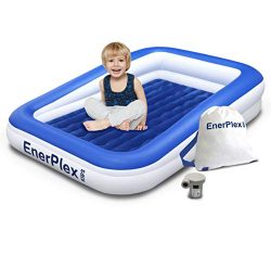 EnerPlex Kids Inflatable Toddler Travel Bed with High Speed Pump, Portable Air Mattress for Kids ...