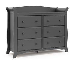 Storkcraft Avalon 6 Drawer Universal Dresser, Gray