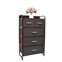 WAYTRIM Fabric 5 Drawers Storage Organizer Unit Easy Assembly, Vertical Dresser Storage Tower fo ...