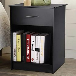 INTEY Nightstand with Drawer and Open Storage Shelf, Side End Table for Bedroom Living Room, Black