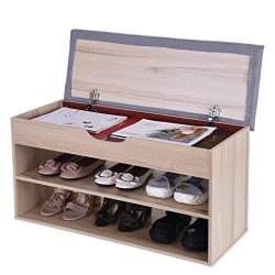 Beyonds Entryway Shoe Storage Bench, White Shoes Shelf Rack with Innovative Flip Cover Drawers & ...