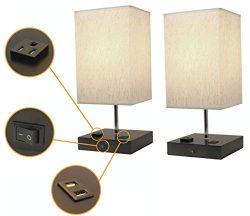 Paradis Lamp with 2 USB Ports & 1 Power Outlet. Modern Design, Wood Base with Fabric Shade.  ...
