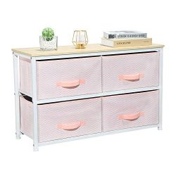 Aingoo Dresser Storage 4 Drawers Storage Bedroom Steel Frame Fabric Dressers Drawers for Clothes ...