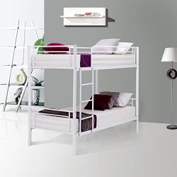 Mecor Metal Bunk Bed Twin Over Twin – with Removable Ladder and Guard Rail- Space Saving D ...
