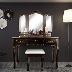 SCYL Color Your Life Tri Folding Mirror Vanity Table Set Dressing Table with Cushioned Stool& ...