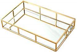 PuTwo Tray Mirror, Gold Mirror Tray Perfume Tray Mirror Vanity Tray Dresser Tray Ornate Tray Met ...