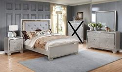 GTU Furniture Contemporary Silver Style Wooden 4Pc Queen Bedroom Set(Q/D/M/N)