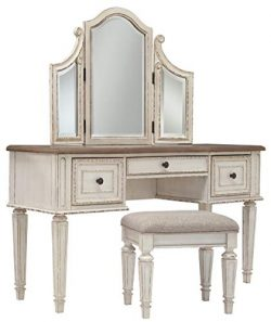Signature Design by Ashley Realyn Vanity and Mirror with Stool, Chipped White