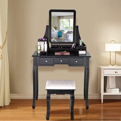 Makeup Table, Vanity Set With Mirror & Cushioned Stool White Wooden Dressing Table Dressing  ...
