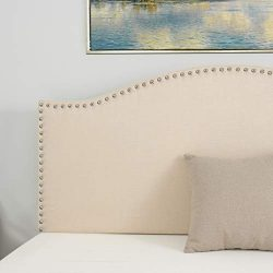 LAGRIMA Upholstered Linen Full/Queen Size Headboard with Decorative Nailhead Trim and Curved Sha ...