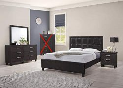 GTU Furniture Contemporary Styling Espresso Twin/Full/Queen/King Bedroom Set (Full Size Bed, 4 Pc)