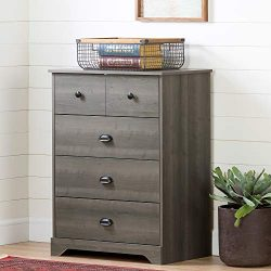 South Shore 12388 Volken 4-Drawer Chest Dresser-Gray Maple