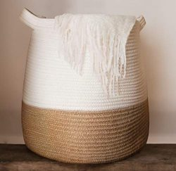 Large Woven Rope Basket | 17 x 17″ Tall Decorative Blanket Basket for Living Room, Toys, S ...