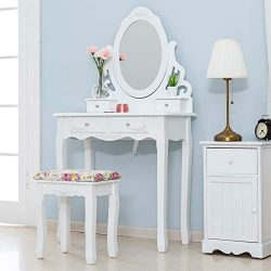 Mecor Vanity Table Set w/Cushoined Stool,Makeup Table with Oval Mirror Hollow Carved Frame, Wood ...