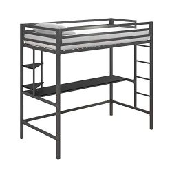 Novogratz 4370429N Maxwell Metal Twin Loft Desk & Shelves, Gray/Black Bunk Beds,