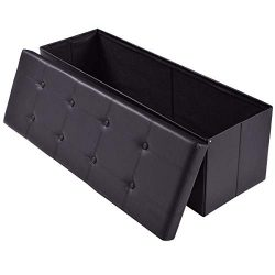 AuAg  43″ Folding Storage Ottoman Bench Faux Leather Toy Box/Chest Coffee Table/Foot Rest/ ...