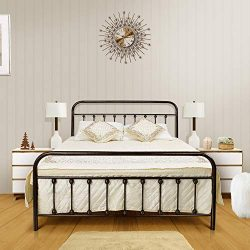 Ambee21 Queen Metal Bed Frame with Headboard and Footboard Set: Vintage Bed Frame, Sturdy Suppor ...