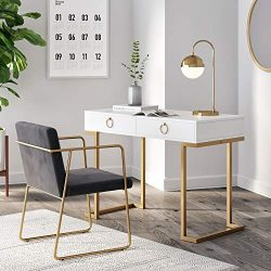 Nathan James 53301 Leighton Two-Drawer Home Office Computer Desk Vanity Table Wood and Metal, Wh ...