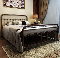 URODECOR Metal Bed Frame Queen Size Headboard and Footboard The Country Style Iron-Art Double Be ...