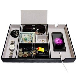 SUKKMORI Valet Tray Nightstand Organizer – Dresser Tray for Men and Women – EDC PU L ...