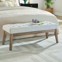 WEMART Velvet Upholstered Tufted Bench with Solid Wood Leg,Ottoman with Padded Seat- Light Gray