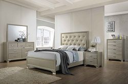 Kings Brand Furniture – 6-Piece Champagne Finish with Upholstered Headboard Queen Size Bed ...