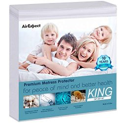 Waterproof Mattress Protector King Size – AirExpect 100% Organic Cotton Hypoallergenic Bre ...