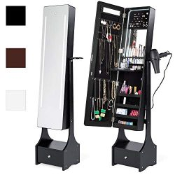 Best Choice Products Full Length LED Mirrored Jewelry Storage Organizer Cabinet w/Interior & ...