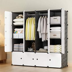 KOUSI Portable Closets 14″x18″ Depth Cube Wardrobe Closet Wardrobe in Closet Armoire ...