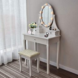 Makeup Vanity Table Set Mirror with LED Lights Dressing Table and Stool Set with Drawers Removab ...