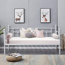 VECELO Daybed Frame Twin Size Multifunctional Metal Platform with Headboard Victorian Style,Matt ...