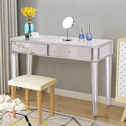 Tangkula Mirrored Makeup Table Desk Vanity for Women with 2 Drawers Home Office Smooth Silver Fi ...