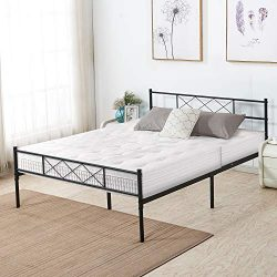VECELO Metal Platform Bed Frame Mattress Foundation with Headboard & Footboard/Firm Support  ...