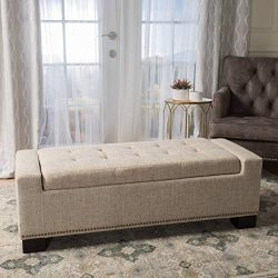 Christopher Knight Home 300165 Living Espana Wheat Fabric Storage Ottoman w/Studs,