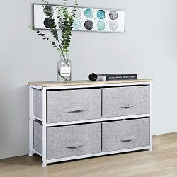Aingoo Dresser Storage 4 Drawers Storage Bedroom Steel Frame Fabric Wide Dressers Drawers for Cl ...