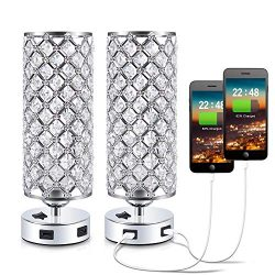 USB Crystal Bedside Lamp, Kakanuo Nightstand Lamp with Dual USB Charging Port, Modern Table Desk ...