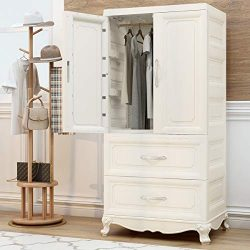 Nafenai Armoire Wardrobe Closet, 2-Door Cabinet Armoire with 2-Drawers, 2-Shelves and Clothing H ...