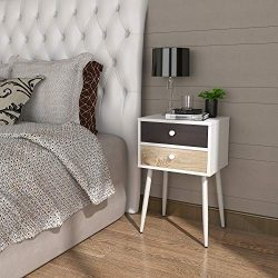 Lifewit Wooden Nightstand with 2 Drawers, Bedside Table Bedroom Side Table, Steel Legs, Sturdy a ...